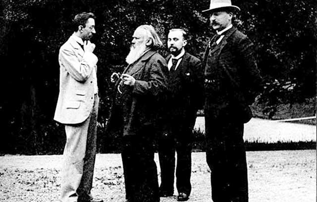 Johannes Brahms (2. v. links) am Friedhofsausgang unmittelbar nach Claras Begräbnis