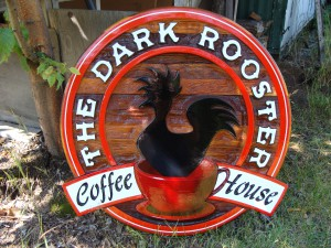 dark rooster coffee house sign
