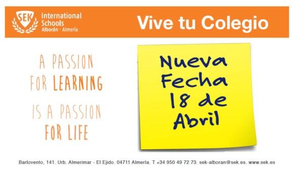 Vive tu Colegio será el 18 de Abril