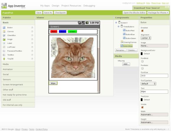 Imagen del entorno de desarrollo de App Inventor