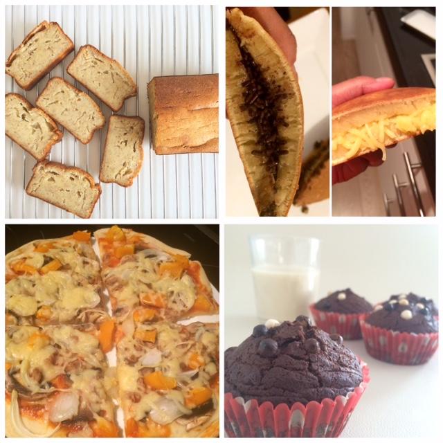 Banan cake, martabak manis a.k.a terang bulan, cupcake, pizza tuna jamur paprika.