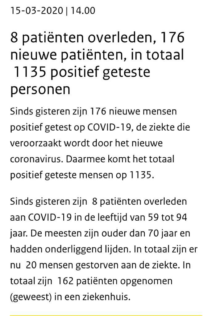 Status tentang Corona di Belanda per 15 Maret 2020