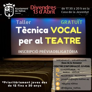 Xàtiva organitza aquest cap de setmana tallers de tècnica vocal per a teatre i de cuina vegetariana dirigits a joves