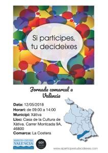 El dissabte 12 de maig se celebrarà a Xàtiva unes Jornades Comarcals de Participació Ciutadana