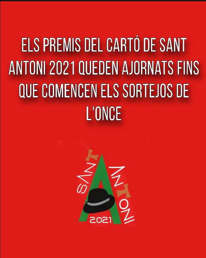 Els sortejos del premi del cartó de Sant Antoni 2021 queden ajornats fins que comencen els sortejos de l'ONCE