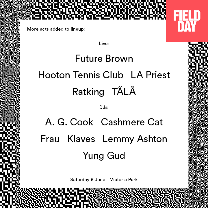 Field Day line up 6th June one Cone Magazine