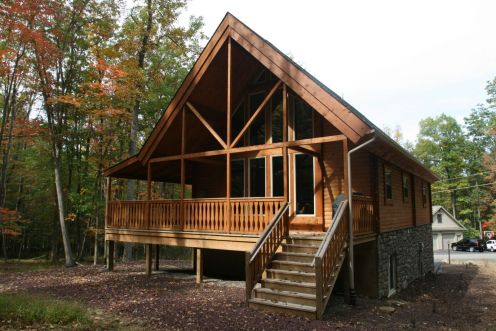 log home front porch view