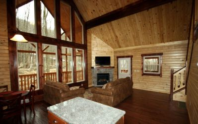 interior log home with prowl window