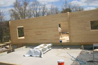 log cabin construction progress