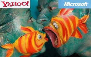 Microsoft potrayed as a big fish and Yahoo as the small fish and the big fish is going to eat the small fish.
