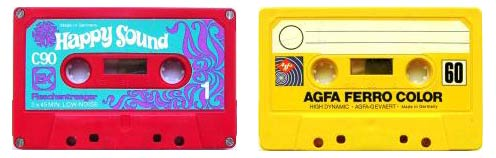 Image of psychedelic Happy Sound and yellow AGFA Ferro Color audio tapes