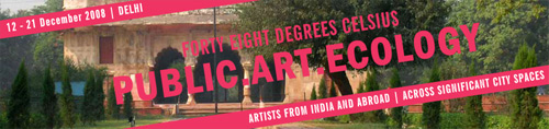 banner for the forty eight degree celcius contemporary arts festival in public space