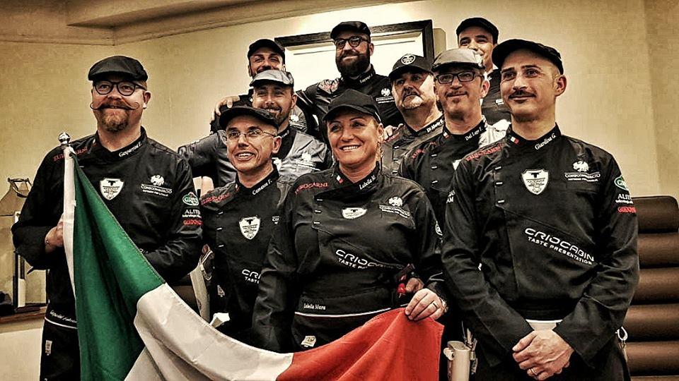 Gianni Giardina e la Nazionale Italiana Macellai oggi al World Butchers' Challenge a Belfast