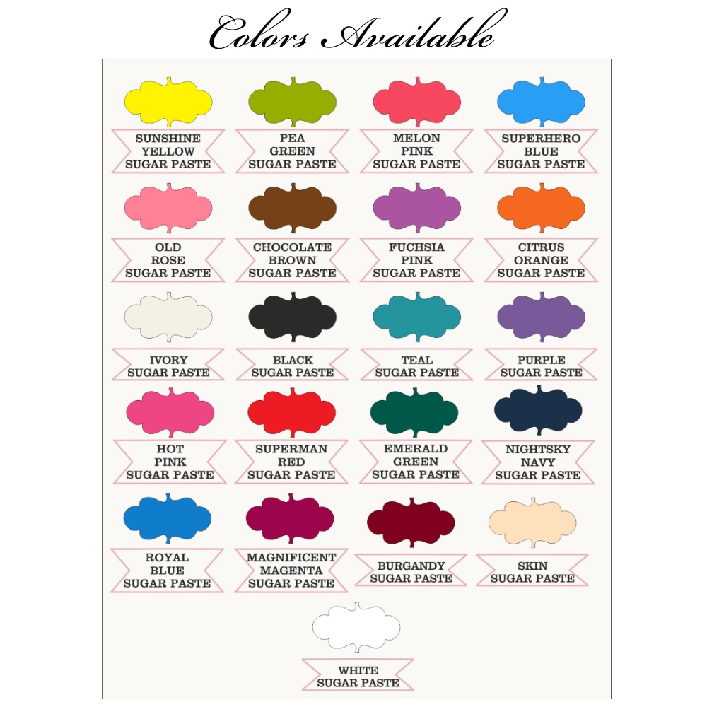 Sugarpaste Colors Available