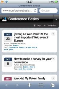 ConfBasics as seen on an iPhone