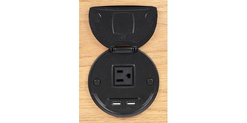 FSR TCCHRGBLK9 17766 1 Power and 2 Charging USB Round