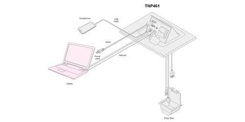 Altinex TNP461 Pop Up HDMI/VGA/Data/USB Table Box with
