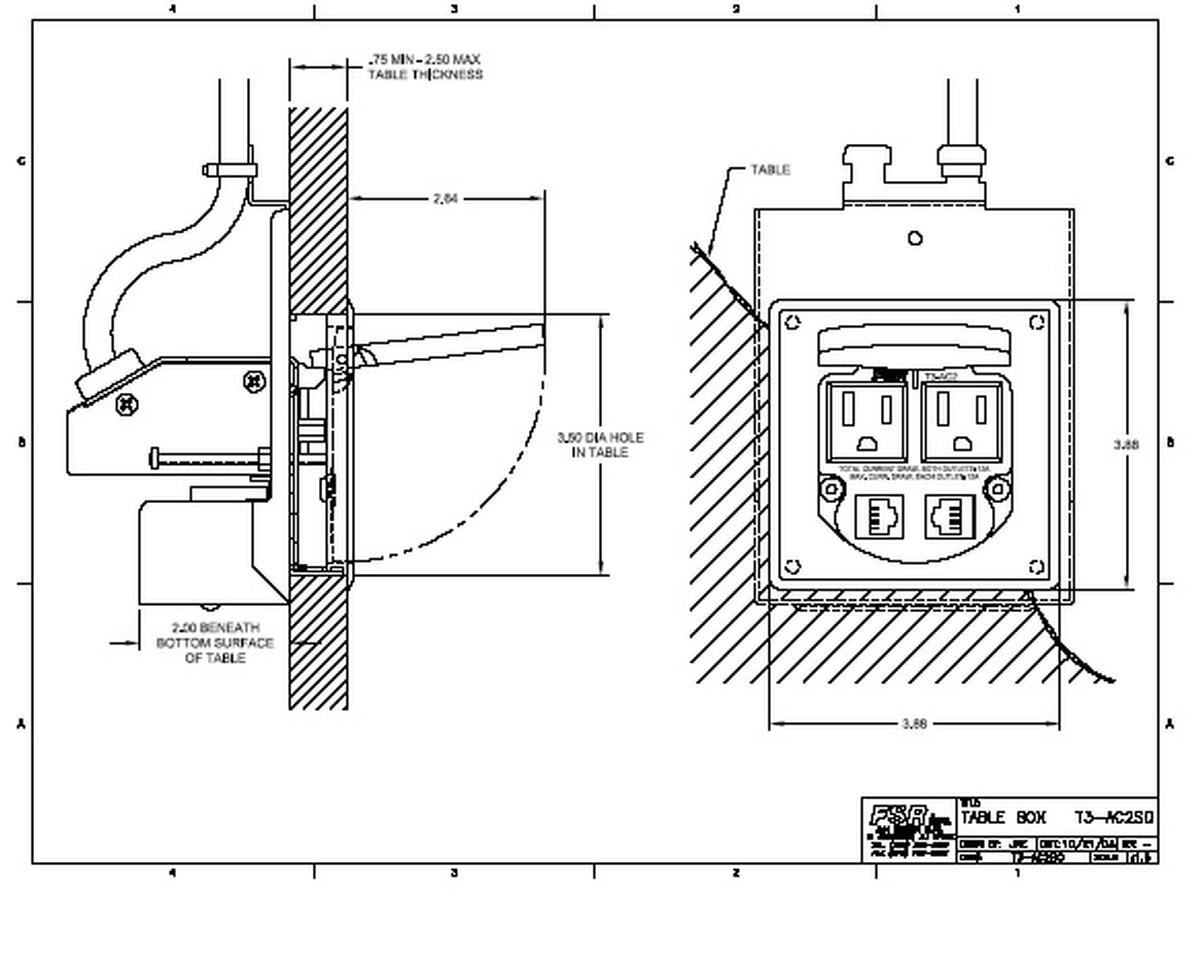 FSR T3-AC2-SQALU Square Power and Data Grommett, 2AC & 2