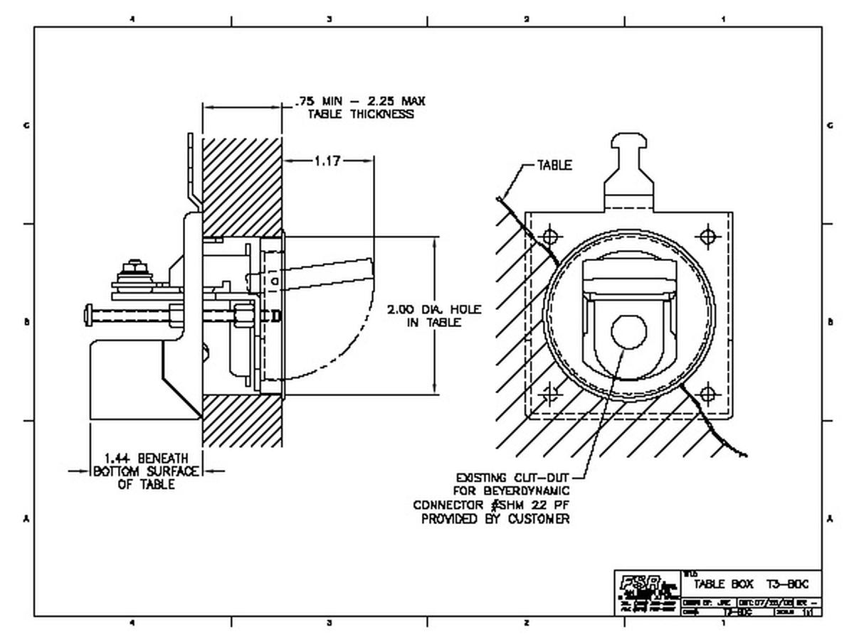 FSR T3-CAT5SQ-BLK Tilt Up Square Cable Well, CAT5 Port
