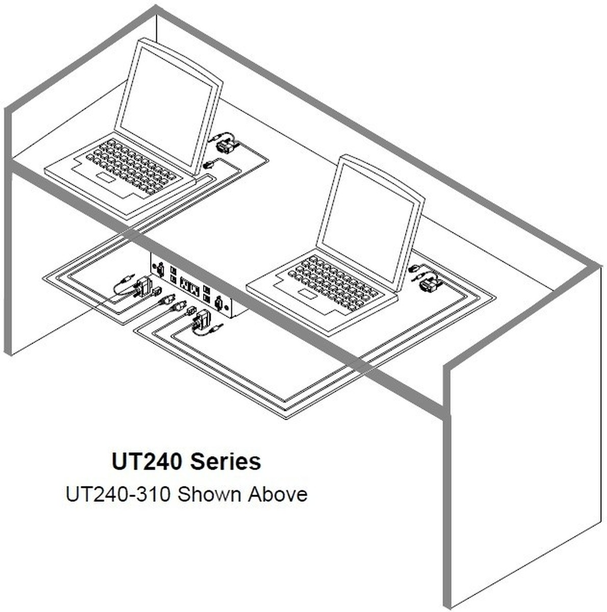Altinex UT240-121S Under Table AV Mount w/ VGA, Audio