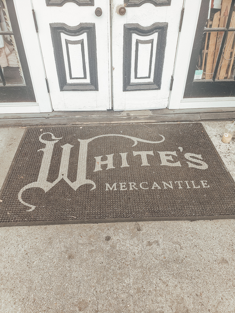 Mat in front of White's Mercantile