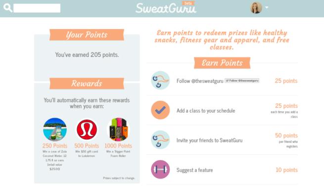 SweatGuru rewards