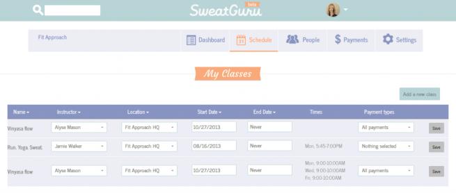SweatGuru studio dashboard schedule