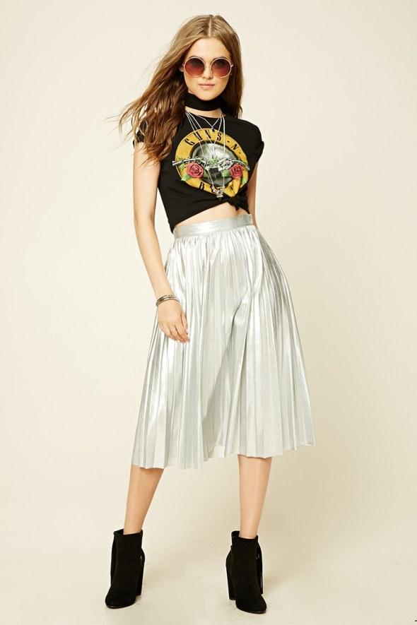 forever+21+silver+pleated+skirt