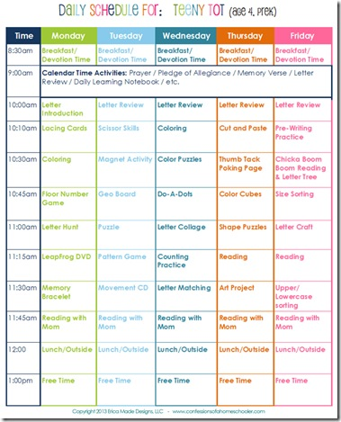Editable daily schedule for preschool. Daily Homeschool Schedule Preschool Confessions Of A Homeschooler