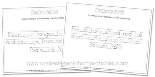 Kindergarten Bible Verse Handwriting Worksheets
