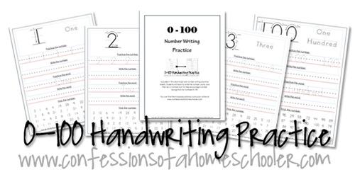 0-100 Kindergarten–1st Grade Number Writing Practice