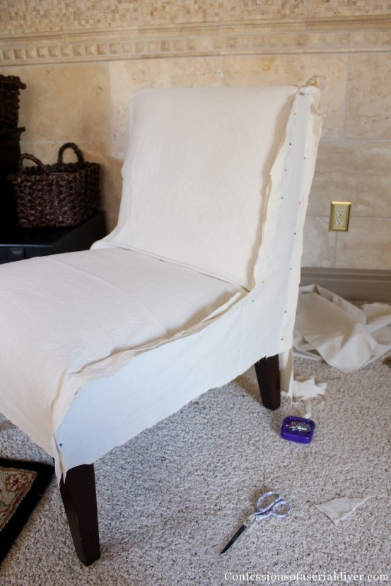 slipcover for armless chair camo cushions slipcovering an accent slip covering