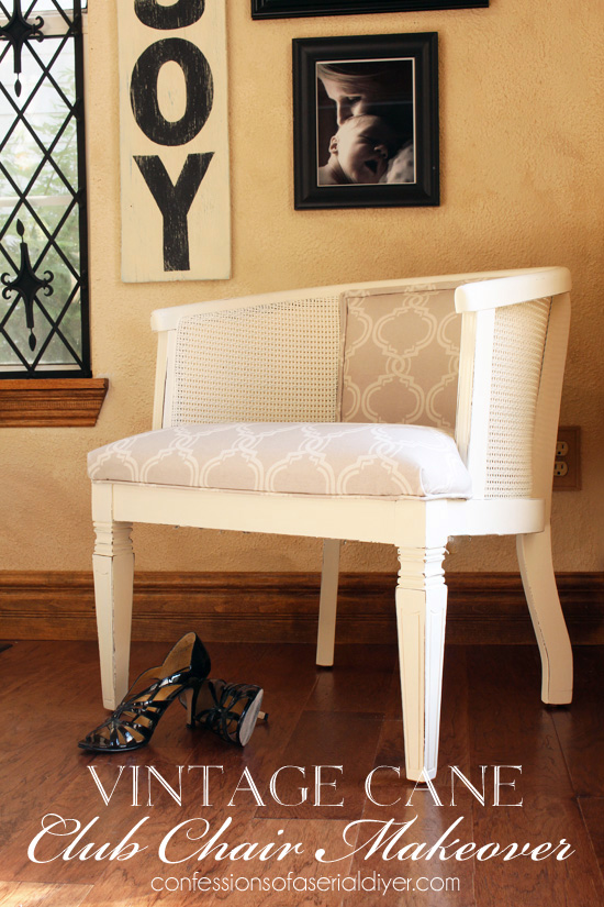 how to replace cane back chair with fabric faux fur chairs vintage club makeover