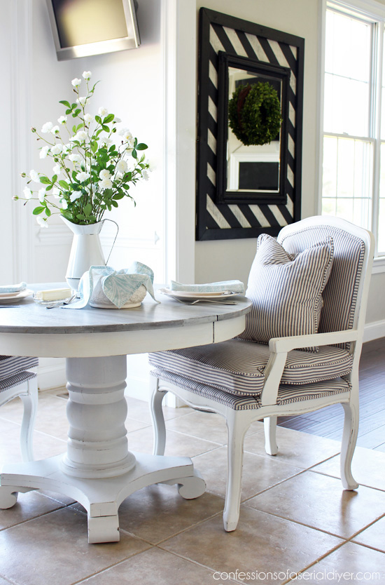 pedestal kitchen table european design makeover whitewashed from confessionsofaserialdiyer com