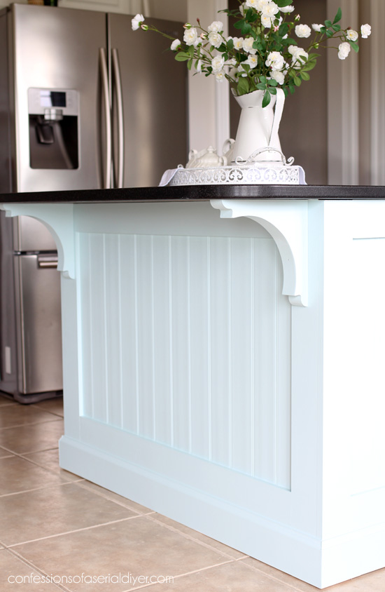 beadboard kitchen island stainless steel shelf makeover with how to add