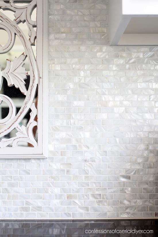 mother of pearl tile backsplash