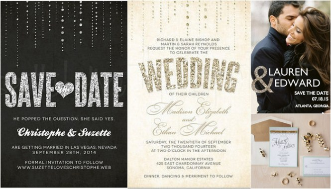 11 Glitter Wedding Invitations