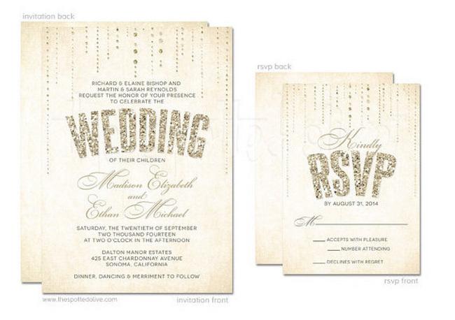 Glitter Wedding Invitation And Rsvp Card