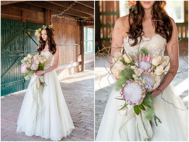 Peach Rose and Blush Protea Rustic Bouquet // Rustic Fall Wedding Ideas // Lightburst Photography // Flowers: Dear Love Events
