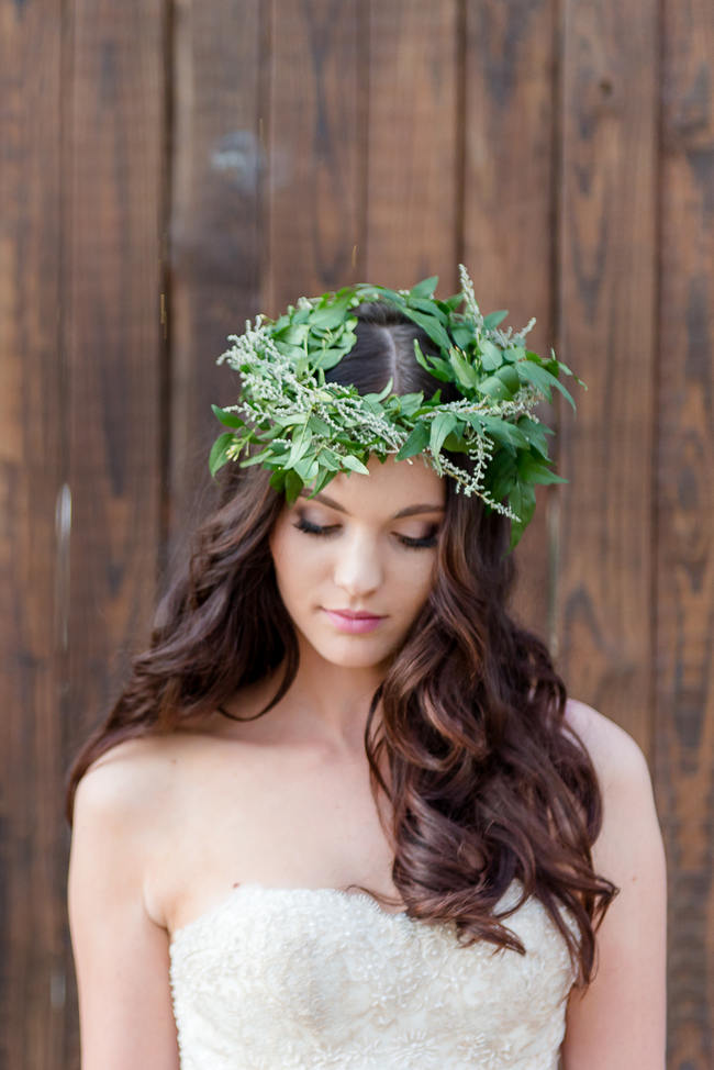 Winter Floral Wreath Green Flower Crown // Rustic Fall Wedding Ideas // Lightburst Photography // Flowers: Dear Love Events // Rosemary Hill Venue