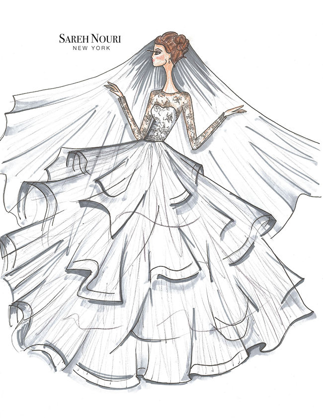 From Sketch to Gown: Wedding Dress Designer Sketches by