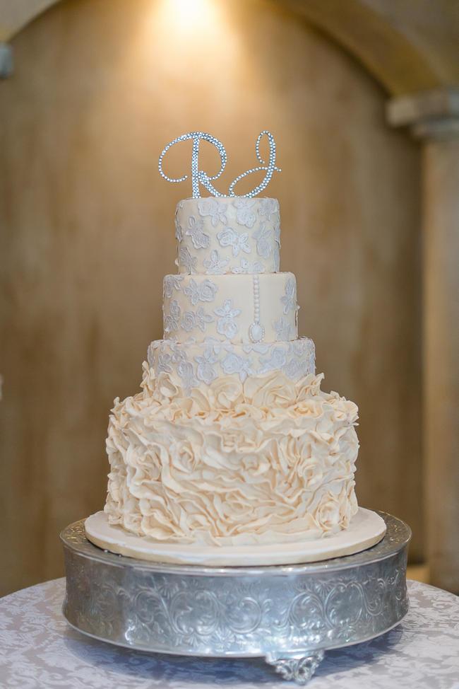 Ornate White And Gold Wedding Cake