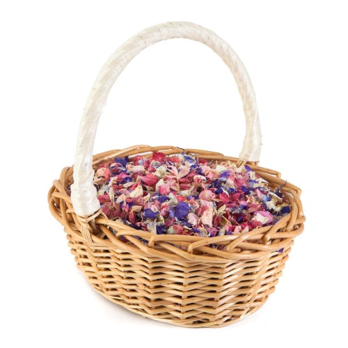Rainbow Delphiniums Confetti Basket