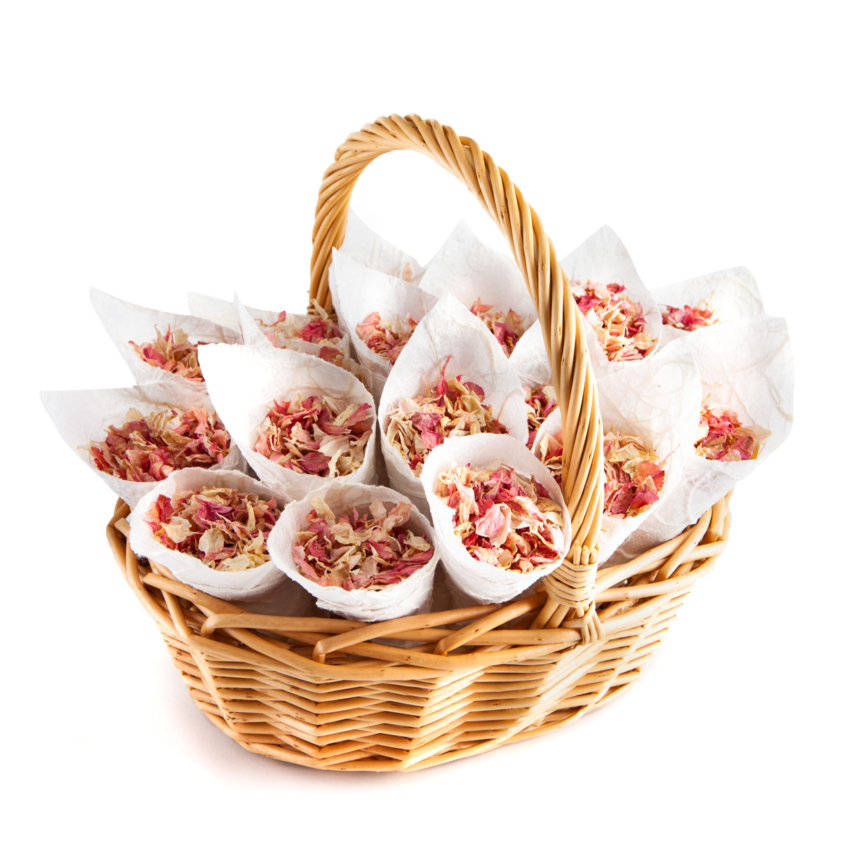 Biodegradable Confetti - Pink Mix Delphiniums - Flower Girl Basket with Confetti Cones
