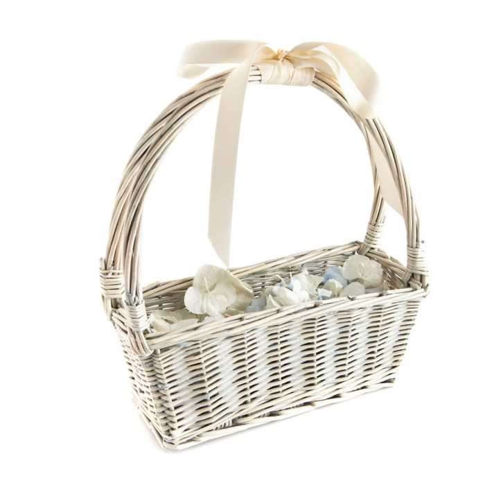 Biodegradable Confetti - Blue & White Hydrangea Petals - Small Flower Girl Basket