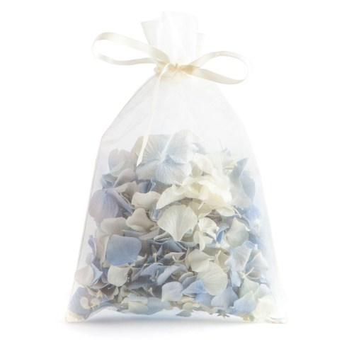Biodegradable Confetti - Blue & White Hydrangea Petals - 10 Handful Bag