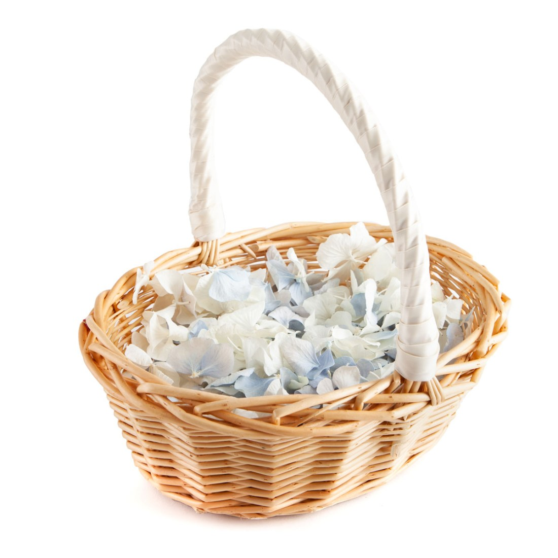 Biodegradable Confetti - Blue & White Hydrangea Petals - Flower Girl Basket