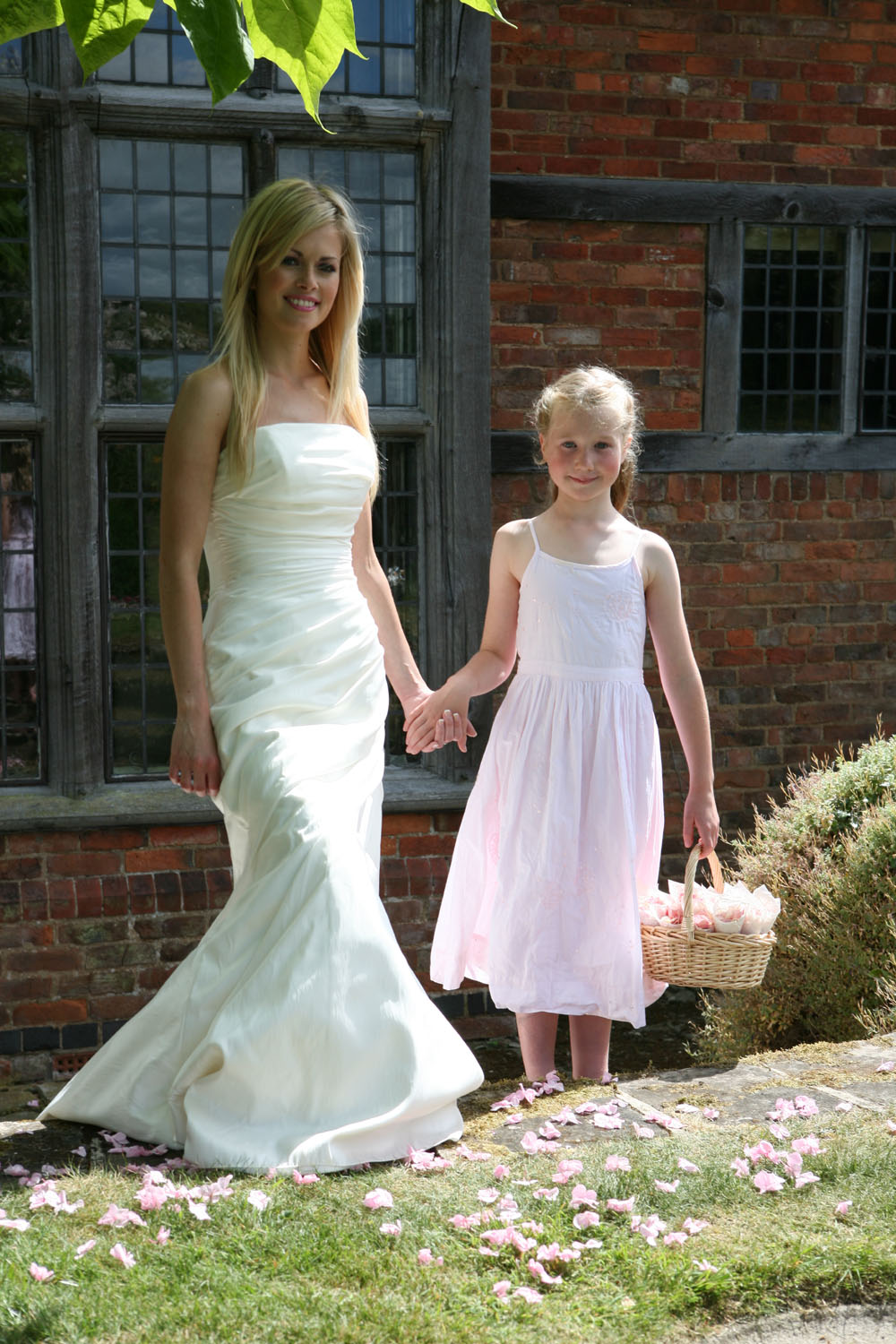 Flower Girl Baskets - the bride with her flower girl