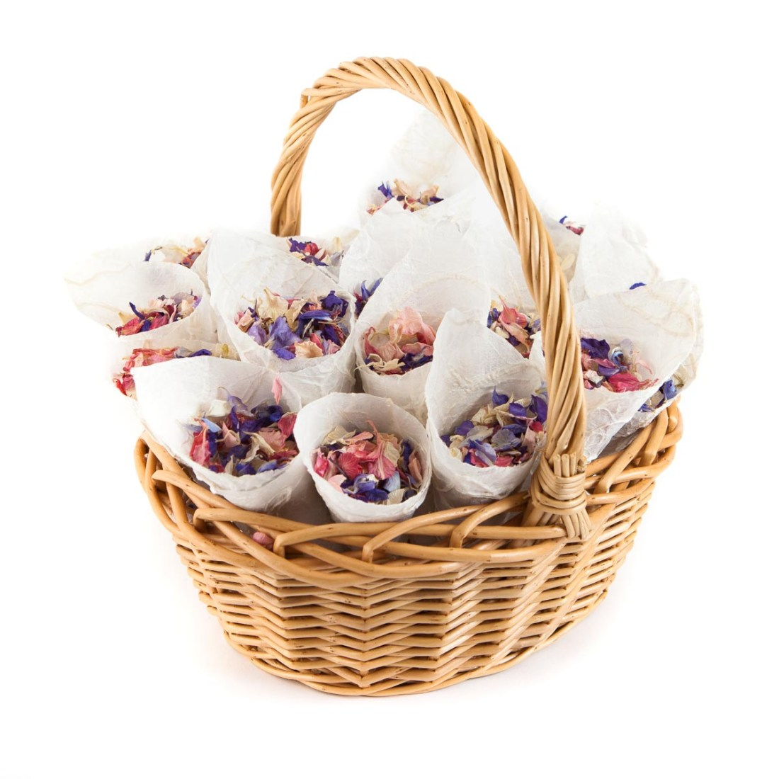 Flower Girl Baskets - a basket of confetti cones ready for the throw