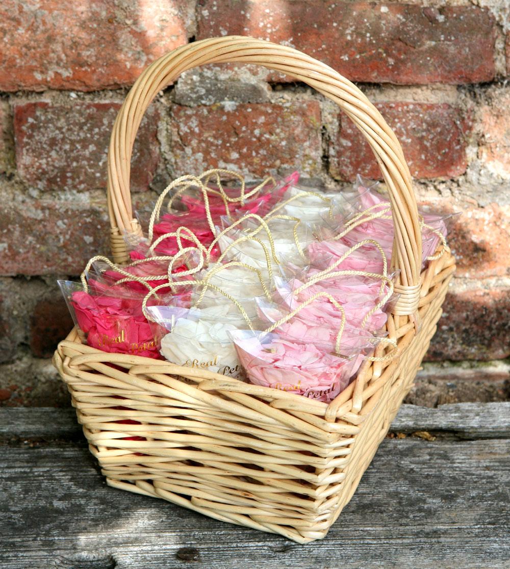 Flower Girl Baskets - pink rose petal confetti sachets